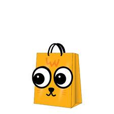 Printed Paper Gift Present Bag MY BIG EYES Orange Children Cute Kids Medium / D
