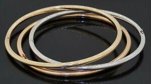 Italian 14K tricolor gold high fashion 3-piece hinged bangle bracelet set