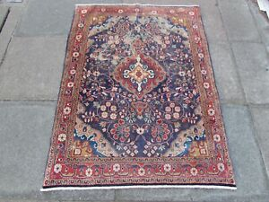 Shabby Chic Worn Vintage Hand Made Traditional Blue Wool Small Rug 150x112cm