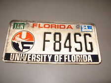 Florida  License Plate  University of Florida F84SG