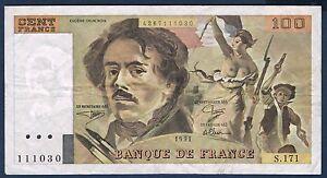 FRANCE - 100 FRANCS DELACROIX Fayette n° 69 bis.3a3 de 1991 en TTB S.171 111030