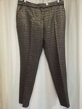 Gold Black Metallic zip front lined Party season celebrations Formal Pant 22 NEW