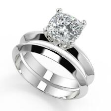 1 Ct Cushion Cut Knife Edge 4 Prong Solitaire Diamond Engagement Ring Set SI2 D