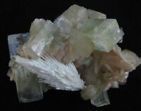 Mineral specimen of scolecite, apophyllite & stilbite on chalcedony-India # 5801