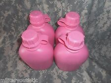 New, Us Military 1 Quart Plastic Canteen, Pink W/Clip, 4 Pack