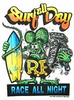 Rat Fink Surfing Decal Hot Rat Rod Sticker Car  Man Cave   Ed 'Big Daddy' Roth