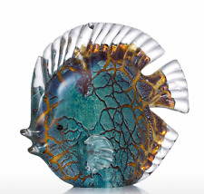 SCULPTURED GLASS TROPICAL FISH HAND BLOWN DETAILED TEXTURED 15CM X6CMXc14CM