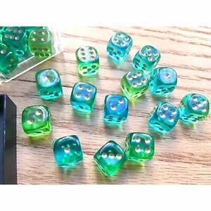 Gemini Translucent Green Teal Pipsqueak 12mm Partial Block OOP Chessex