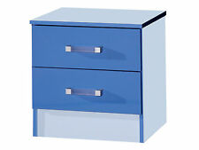 Marina High Gloss Blue Bedside Cabinet With 2 Drawers - Boys Bedroom Furniture
