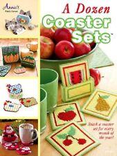 Plastic Canvas Pattern Book A DOZEN COASTER SETS ~ Dog, Cards, Cat, Chicken ++