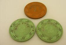 3 Vintage Casino Roulette Chips $2 $1 Reno Nevada
