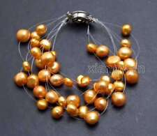 "SALE 6-9mm BAROQUE Natural Orange Pearl 9 strands 7.5"" Starriness Bracelet -b399"