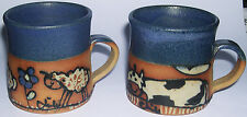 Carlota Art Pottery Chile - Pair Of Mugs With Tube Lining Decoration of Animals.