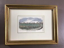Framed Original Wood Engraving Hand Colored 1838 'South Western View of Duxbury'