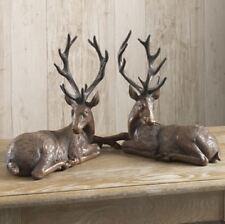 "New!~Raz Imports~15"" Resin Mahogany Brown Deer~Set of 2~Christmas~Reindeer/Buck"