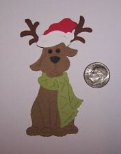 2 Christmas Dogs with Antlers Premade PAPER Die Cuts / Scrapbook & Card Making