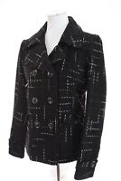 Maralyn & Me Womens Tweed Peacoat Double Breasted Coat Jacket Wool Bd Black Sz M