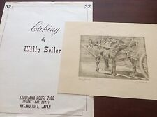"""Original Willy Seiler Horse Etching """"Young and Old"""" - From Occupied Japan"""