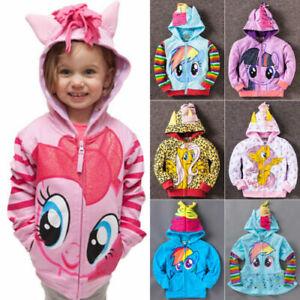 Kids Girls My Little Pony Hoodie Wings Jacket Twilight Rainbow Dash Sweater New/