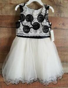 Bonnie Jean Little Girls Sz 5 Black & White Fancy Dress Formal NEW NWT $72