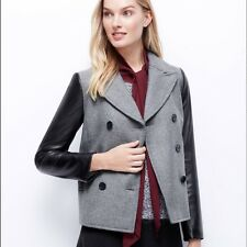 NWT Ann Taylor Faux Leather Sleeves Double Breast Wool Peacoat Coat Black L $278