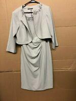Jessica Howard Women's Beaded Jacket Dress Platinum Size 16