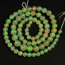 4.1mm-7.5mm Fine Ethiopian Welo Opal Plain Round Beads 16 inch strand