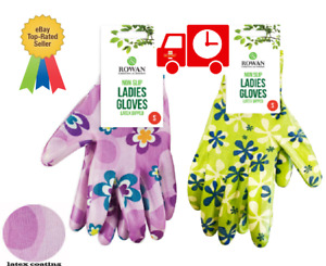 New Ladies Garden Gloves Water Resistant Non Slip Pattered Design Latex coated