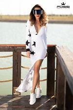FOGGI Damen Kleid Longkleid Kaputze 34,36,38 Weiß