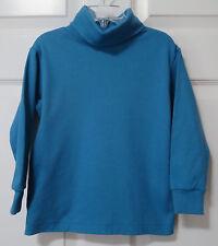 Lands' End Turtleneck Top Long Sleeve Shirt w Elastane Teal Blue Girl's Size 4
