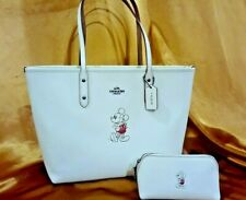 DISNEY X COACH F59357 Mickey Mouse Chalk Leather Tote Purse + cosmetic case NWT