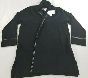 new MAGASCHONI women cardigan sweater coat pockets G001146 black sz XL $88