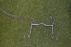 HORSE BITSLIDING CHEEK WEYMOUTH BIT 5 1/2 ELDONIAN PORTED WITH CURB CHAIN