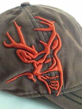 Dri-Duck Brown Adjustable Size Hat With Embroidered Buck In Hunting Orange