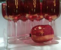cranberry goblets wine water tea 8 pc depression glass antique vintage red