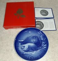 """Bing & Grondahl 2001 MOTHERS DAY PLATE """"Seal With Pup"""" Mors Dag Copenhagen"""