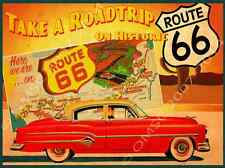 American Historic Route 66 Road Map Metal Sign, 1950's Sedan, Retro Den Decor