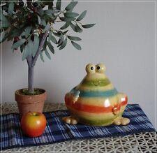 Lustige Gartenfigur Dicker Frosch TOBY Rot Grün Blau geringelt Garten Teich NEU