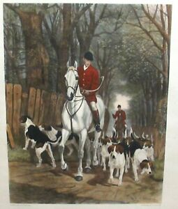 """E.A.S.DOUGLAS """"MORNING GOING TO COVER"""". ORIGINAL HAND COLORED LARGE ENGRAVING"""