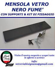 mensola vetro nero 60 X 15 con kit di fissaggio spessa 6mm disponibile su misura