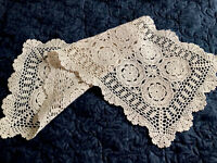 Vintage Hand Crochet Cream Cotton Table Centre Runner Cloth 32x12 Inches