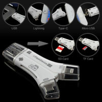 4in1 Flash Device USB Micro SD TF Lightning Card Reader for iOS Android PC Mac