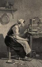 Charles Jacque Repas du Matin Poussins Ferme - Lithographie Mouilleron XIXe