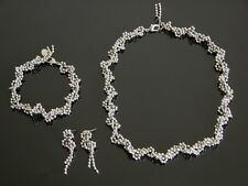 Silver DNA tm Beaded Helix Spiral Necklace Bracelet Earrings Set Gene Molecule