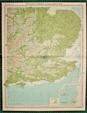 1921 LARGE MAP ~ ENGLAND & WALES SOUTH EASTERN LONDON CHANNEL SURREY ESSEX