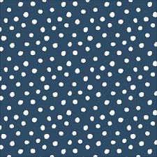 Organic Cotton Jersey Fabric, 'Dots - Navy Knit' Cloud9 Interlock Cotton Knit