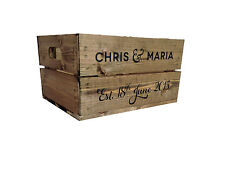 Personalised  Rustic Wooden Half Crate for Weddings (Vintage Style) NaturalStain