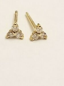 14 kt yellow gold triangle shaped round diamond studs  .06 ct tw ef dn