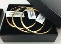 Gold Bangle Bracelet, 18k Gold over .925 Sterling Silver, yellow gold, New