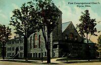 Circa 1905-10 First Congregational Church in Elyria, Ohio Vintage Postcard P5